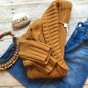 LOFT mustard shawl cableknit cardigan
